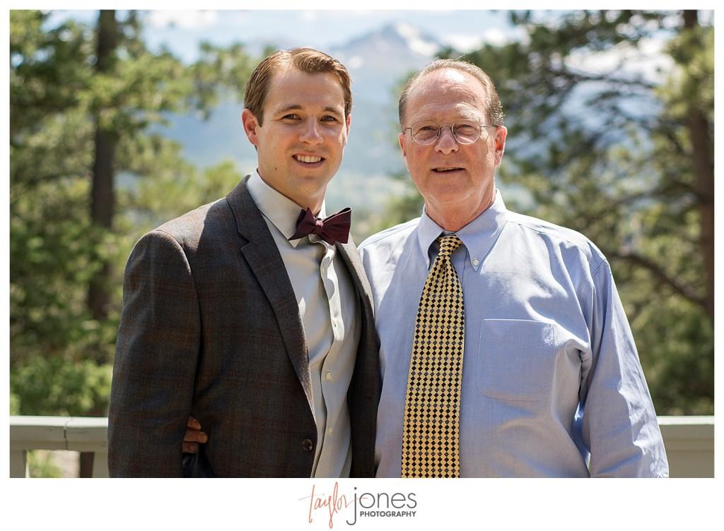 Black Canyon Inn Estes Park wedding groom getting ready with dad