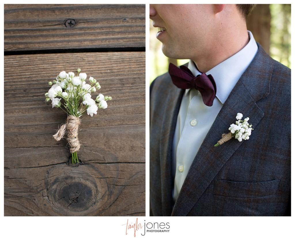 Black Canyon Inn Estes Park wedding groom getting ready, baby's breath