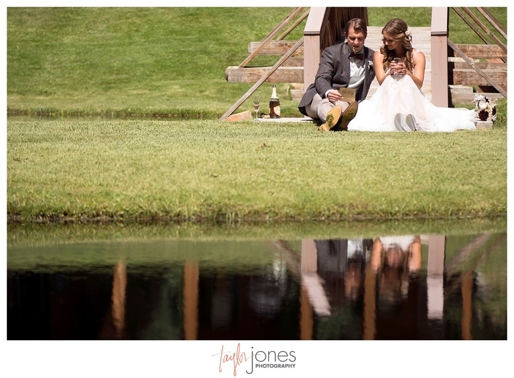 Black Canyon Inn Estes Park wedding first look with bride and groom
