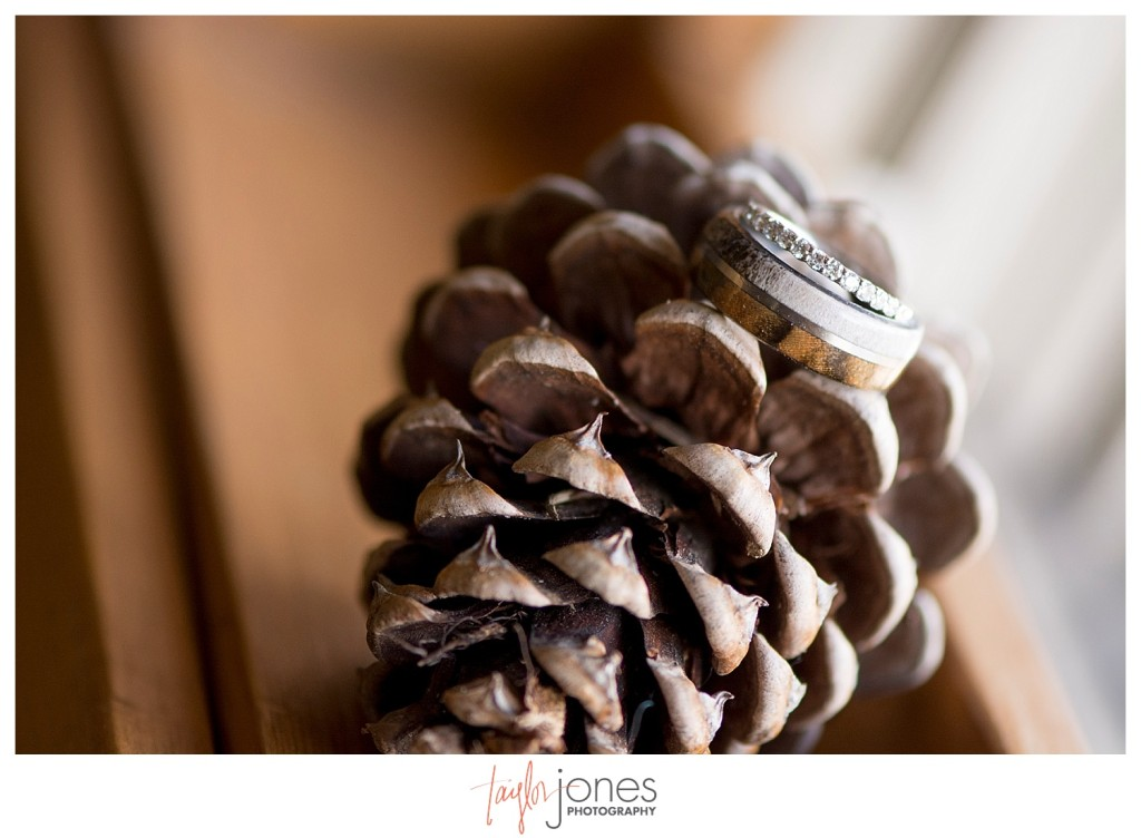 Black Canyon Inn Estes Park wedding first look with bride and groom rings