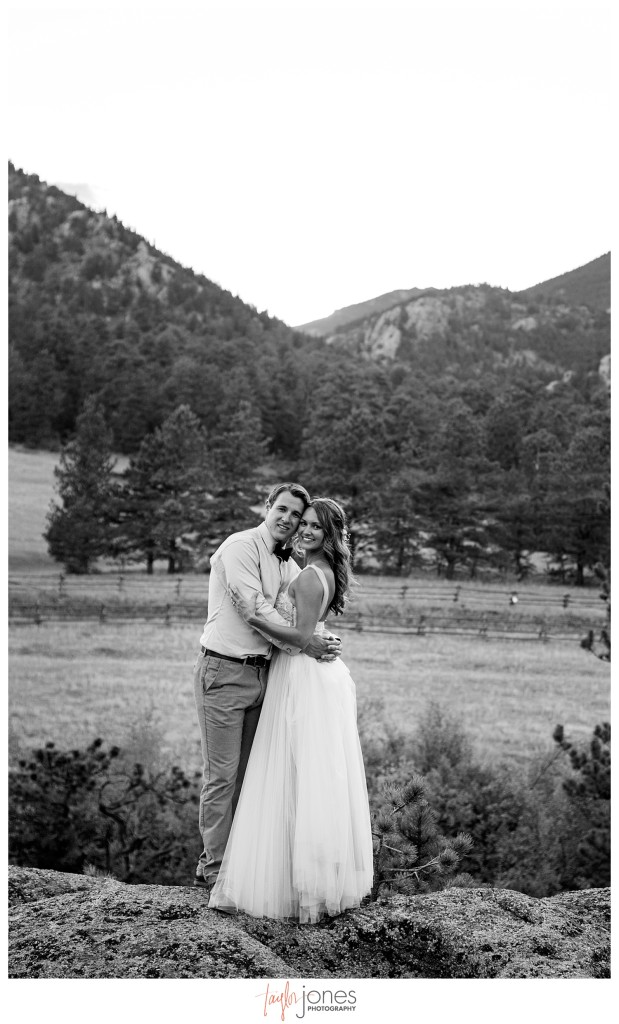 Black Canyon Inn and Twin Owls Steakhouse Estes Park wedding reception couple portraits