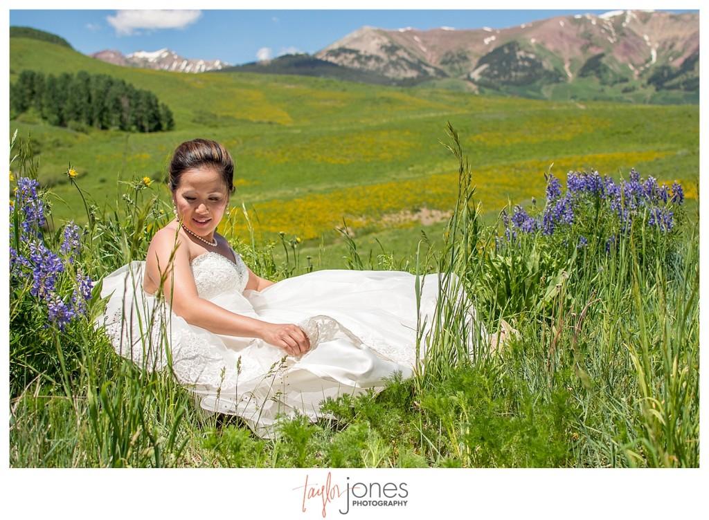 Crested Butte Colorado summer wedding bride at Elk Mountain Range