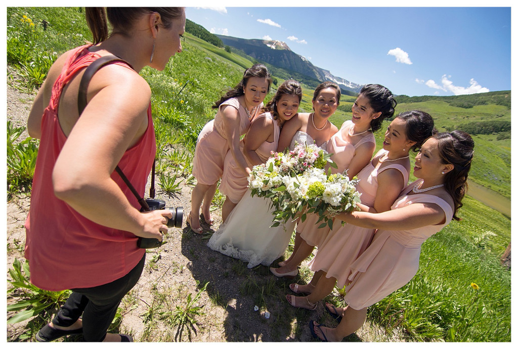 Crested Butte Colorado summer wedding bride and brides maids at Elk Mountain Range photographer