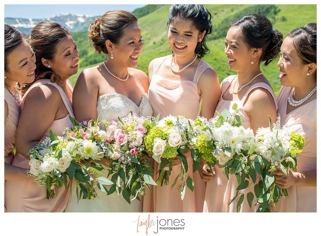 Crested Butte Colorado summer wedding bride and brides maids at Elk Mountain Range