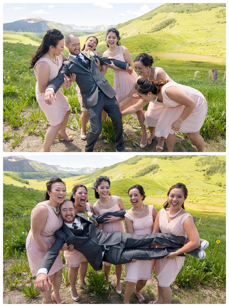 Crested Butte Colorado summer wedding groom and brides maids at Elk Mountain Range