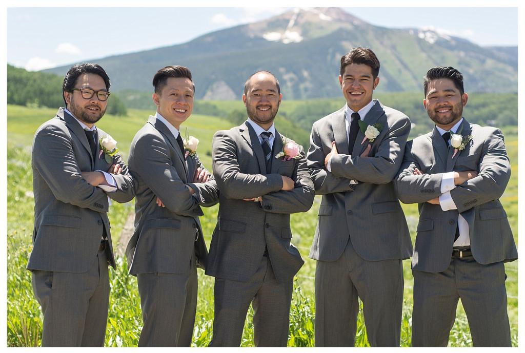 Crested Butte Colorado summer wedding groom and groomsmen at Elk Mountain Range