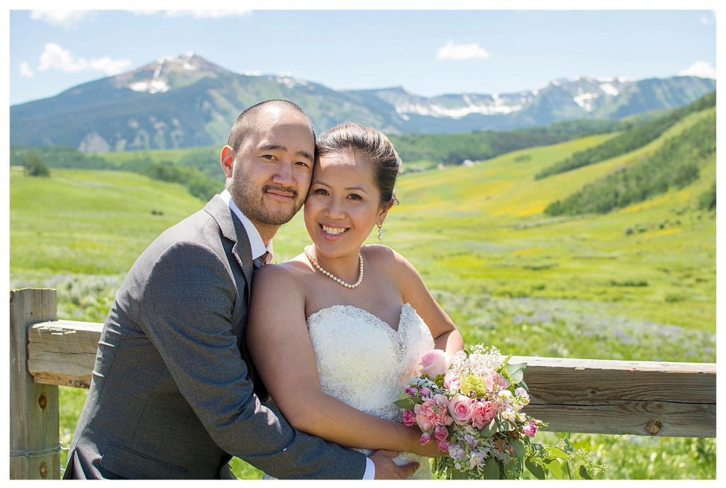 Crested Butte Colorado summer wedding bride and groom at Elk Mountain Range