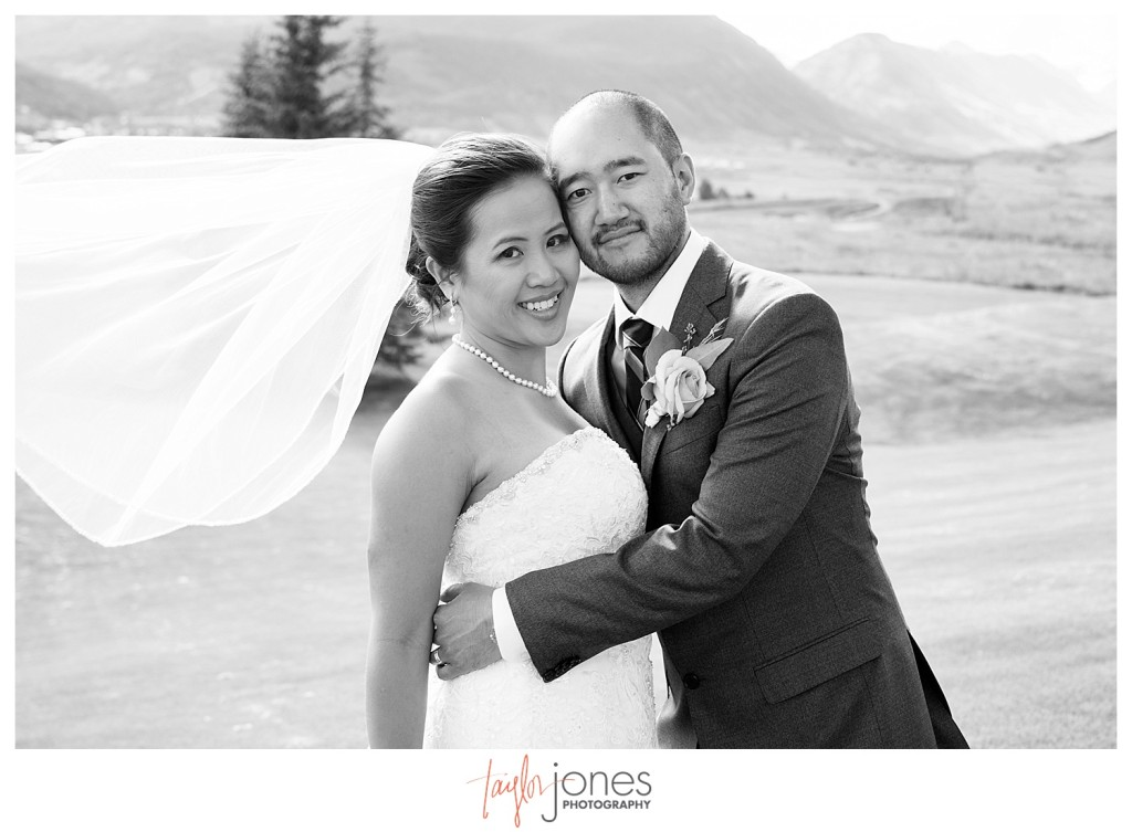Wedding reception at The Club at Crested Butte couple portraits