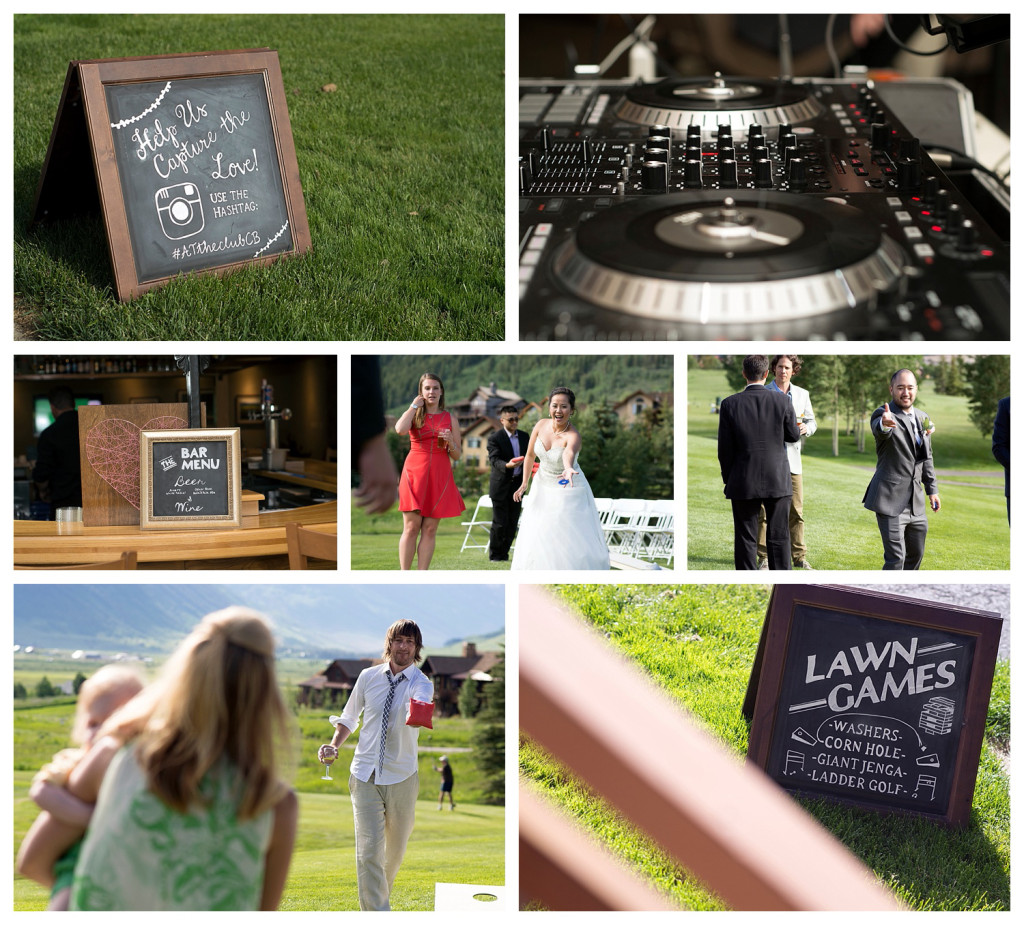 Wedding reception at The Club at Crested Butte lawn games