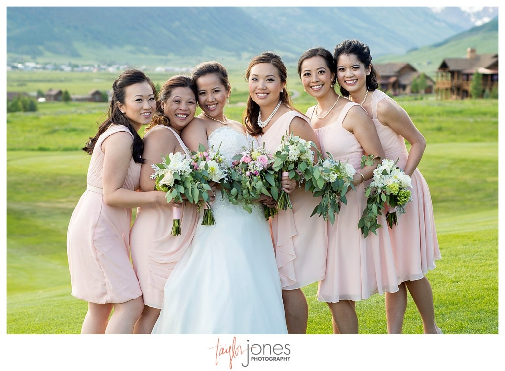 Wedding reception at The Club at Crested Butte bridal party portraits
