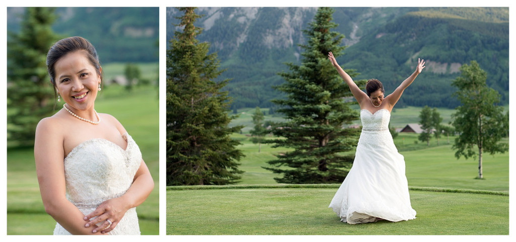 Wedding reception at The Club at Crested Butte couple portraits bride and groom