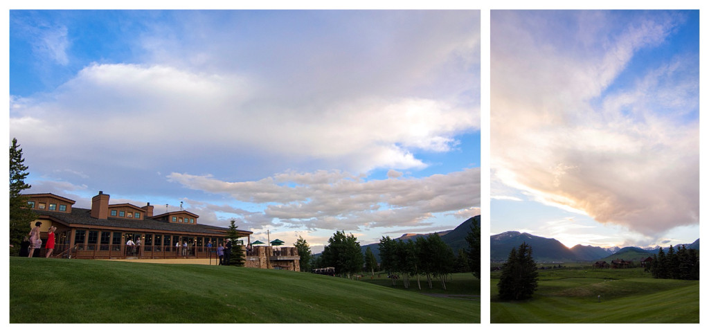 Wedding reception at The Club at Crested Butte at sunset