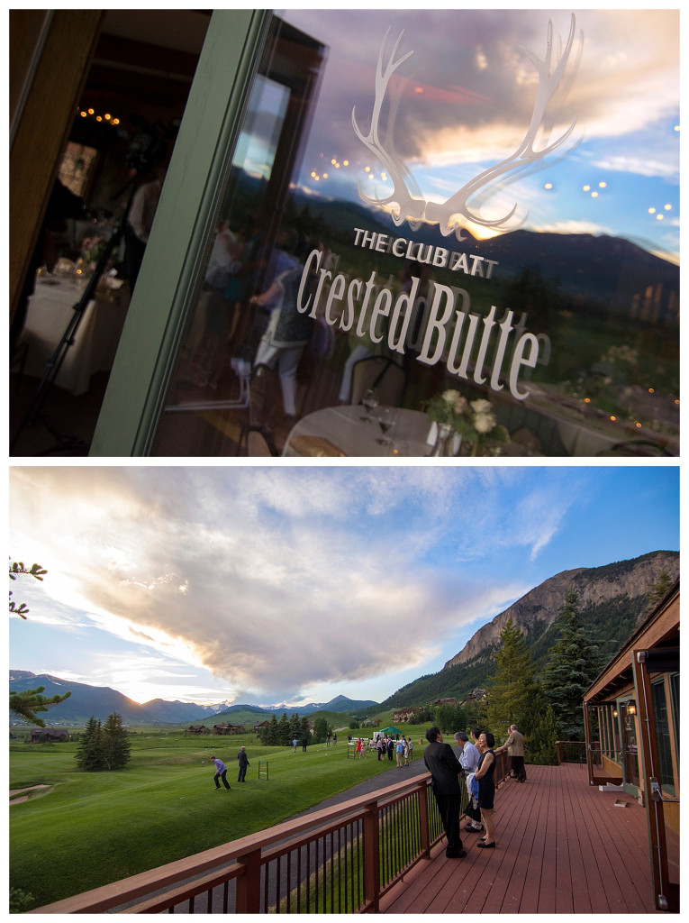 Wedding reception at The Club at Crested Butte sunset