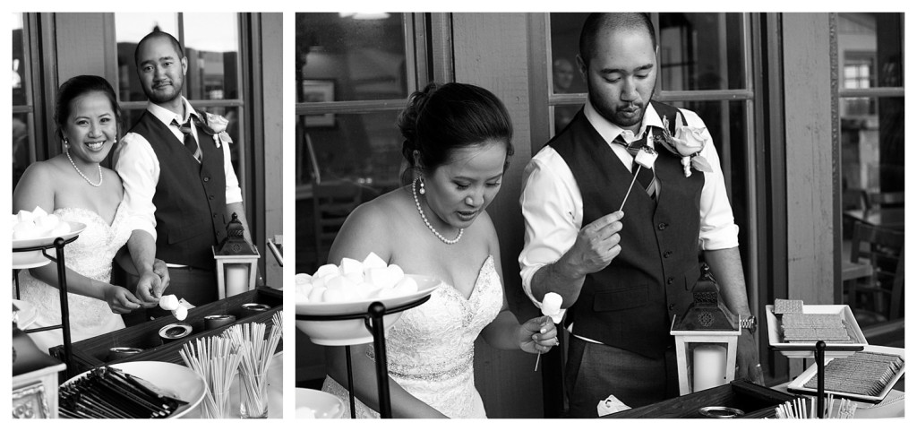 Wedding reception at The Club at Crested Butte couple roasting s'mores