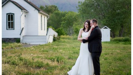 Bride and groom portraits at Clear Creek History Park in Golden Colorado wedding