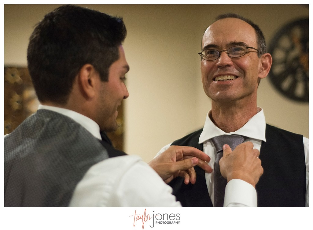 Della Terra Estes Park Wedding groom and father of the bride getting ready