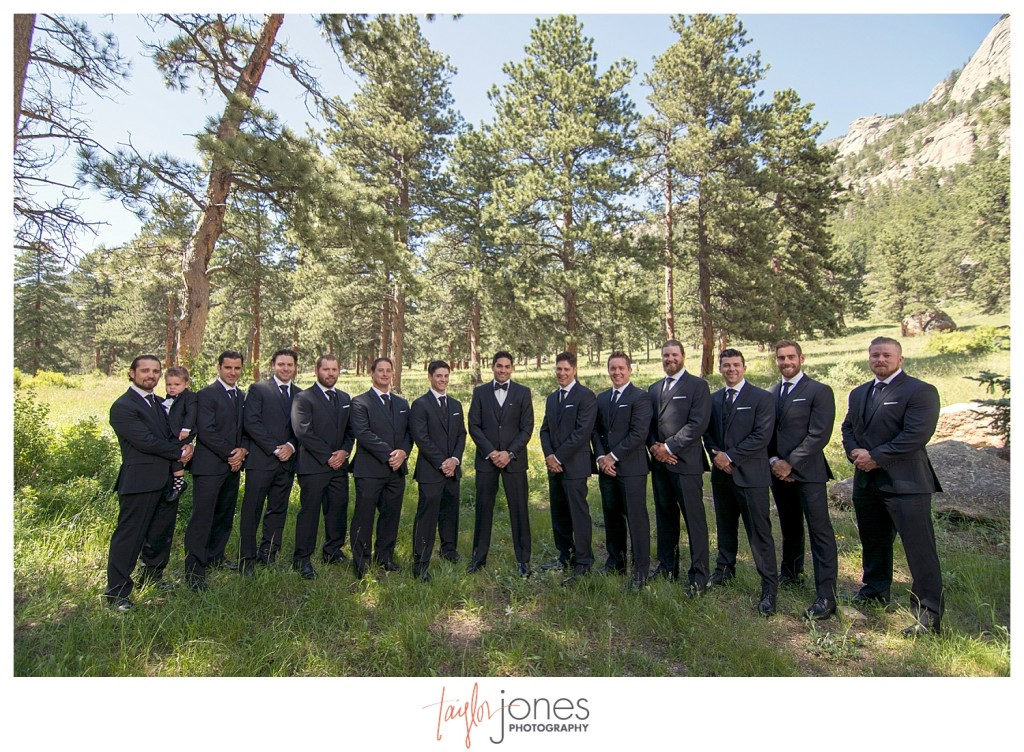 Della Terra Estes Park Wedding groomsmen portraits