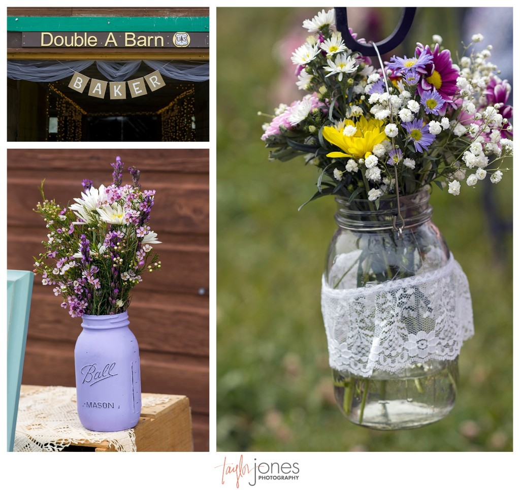 Grand Lake Colorado wedding at the Double A Barn details wildflowers