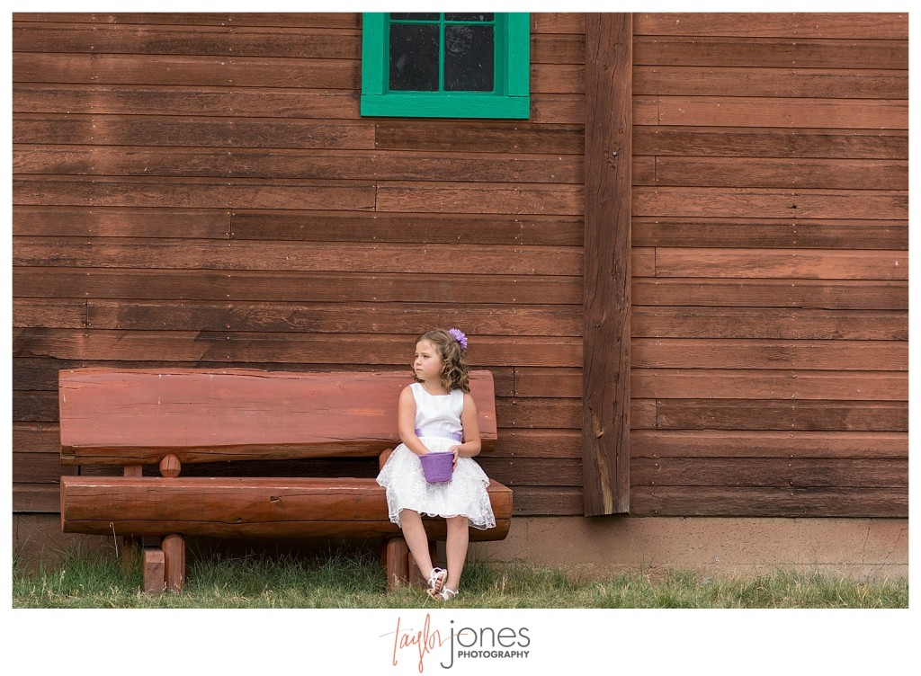 Grand Lake Colorado wedding at the Double A Barn flower girl