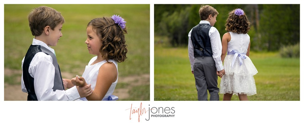 Grand Lake Colorado wedding at the Double A Barn flower girl and ring bearer