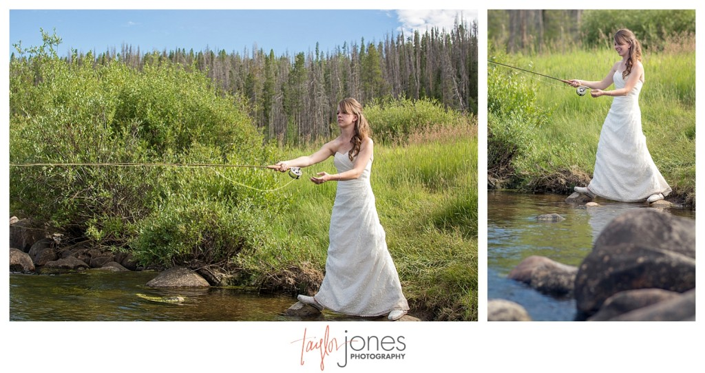 Grand Lake Colorado wedding at the Double A Barn reception fishing