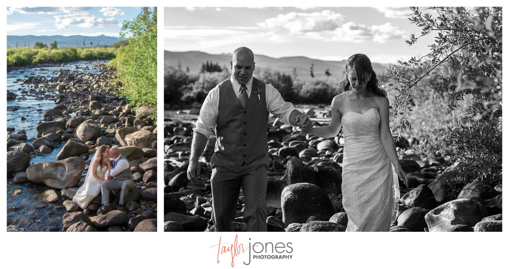 Grand Lake Colorado wedding at the Double A Barn bride and groom portraits
