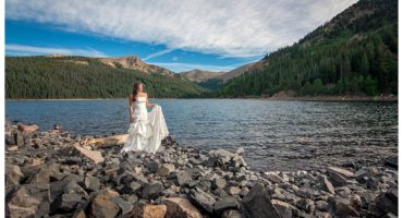 Trash the dress bridal portraits in a lake Jefferson, Colorado