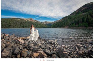 Trash the dress bridal portraits in a lake Jefferson, Colorado