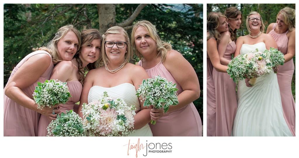 Breckenridge mountain wedding bridal party
