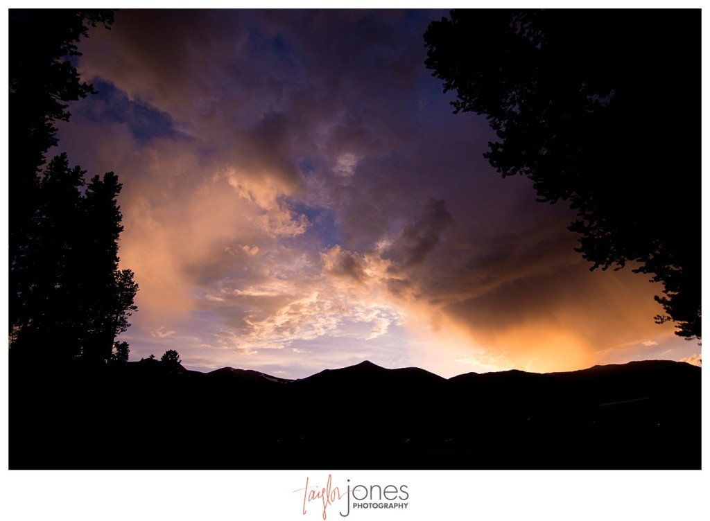 Breckenridge mountain wedding reception sunset
