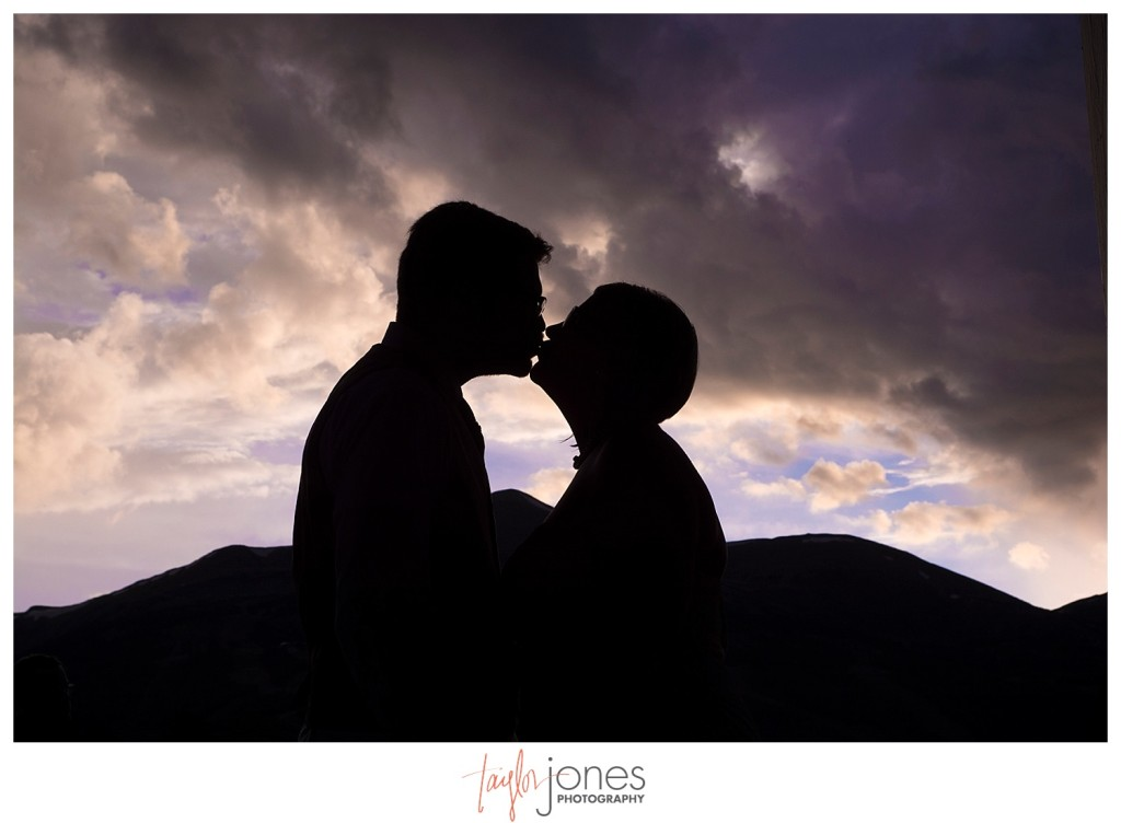Breckenridge mountain wedding reception sunset bride and groom