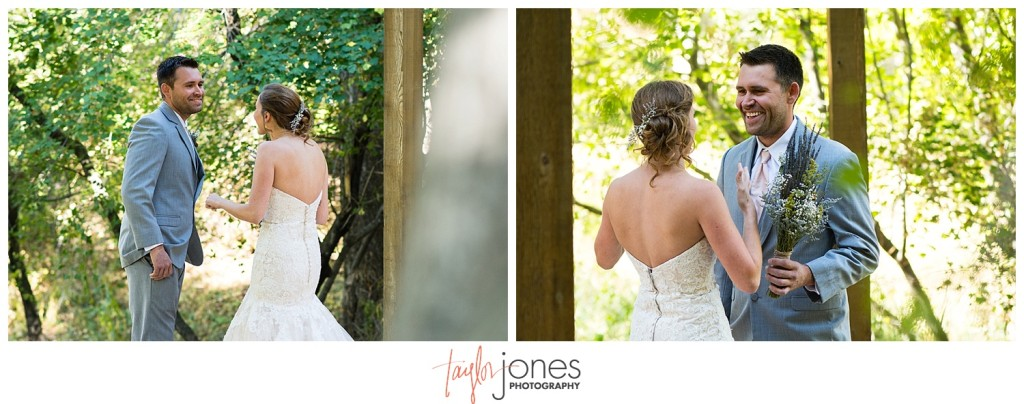 Pines at Genesee fall wedding first look