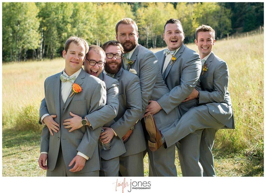 Mountain wedding groom and groomsmen portraits in Pine, Colorado