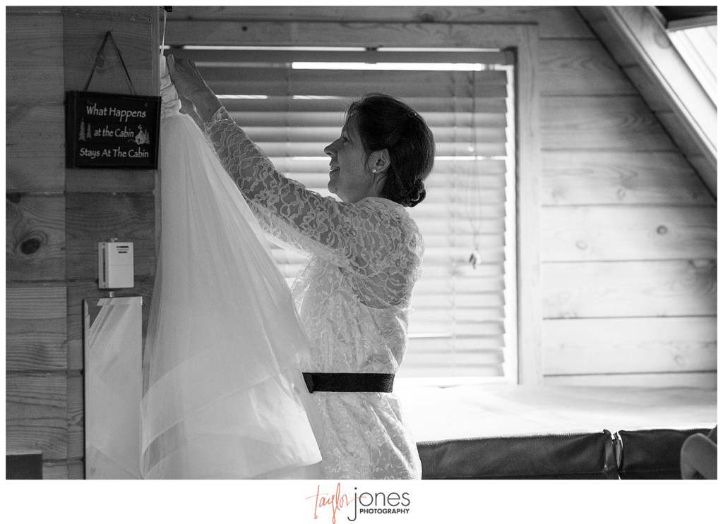 Mountain wedding bride getting ready in Pine, Colorado