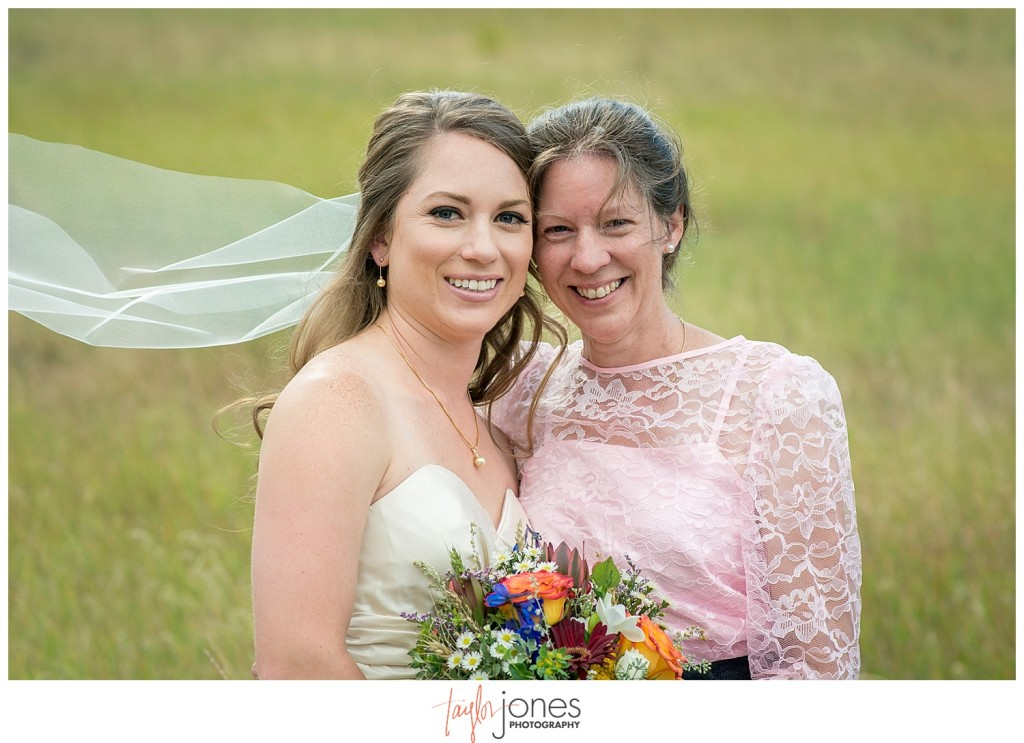 Mountain wedding bride portraits in Pine, Colorado