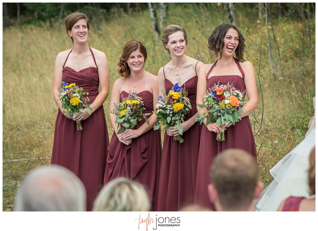 Mountain wedding ceremony in Pine, Colorado
