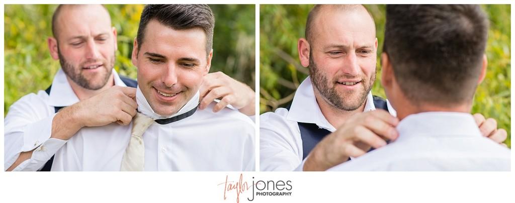 Arrowhead Golf Course fall wedding groom getting ready