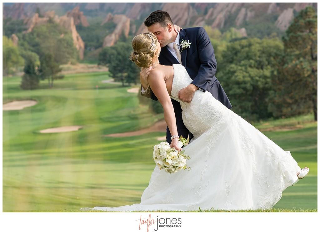 Arrowhead Golf Course fall wedding bride and groom portraits