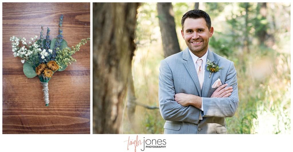 Pines at Genesee fall wedding groom getting ready