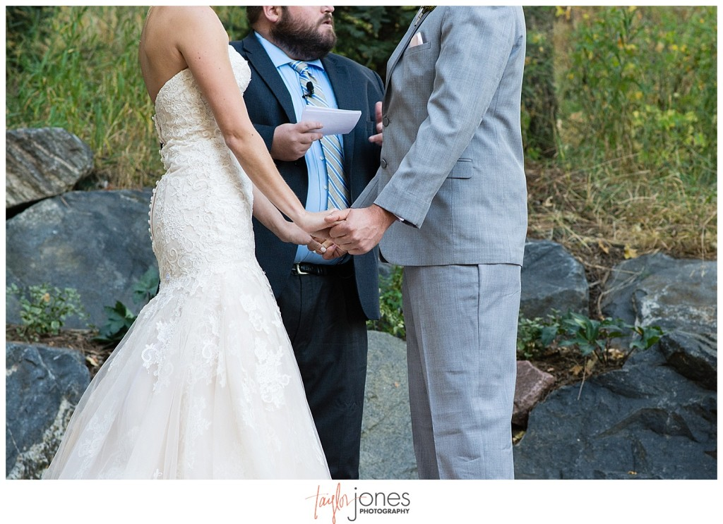Pines at Genesee fall wedding ceremony