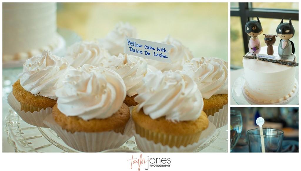 Pines at Genesee fall wedding reception Batman cake topper