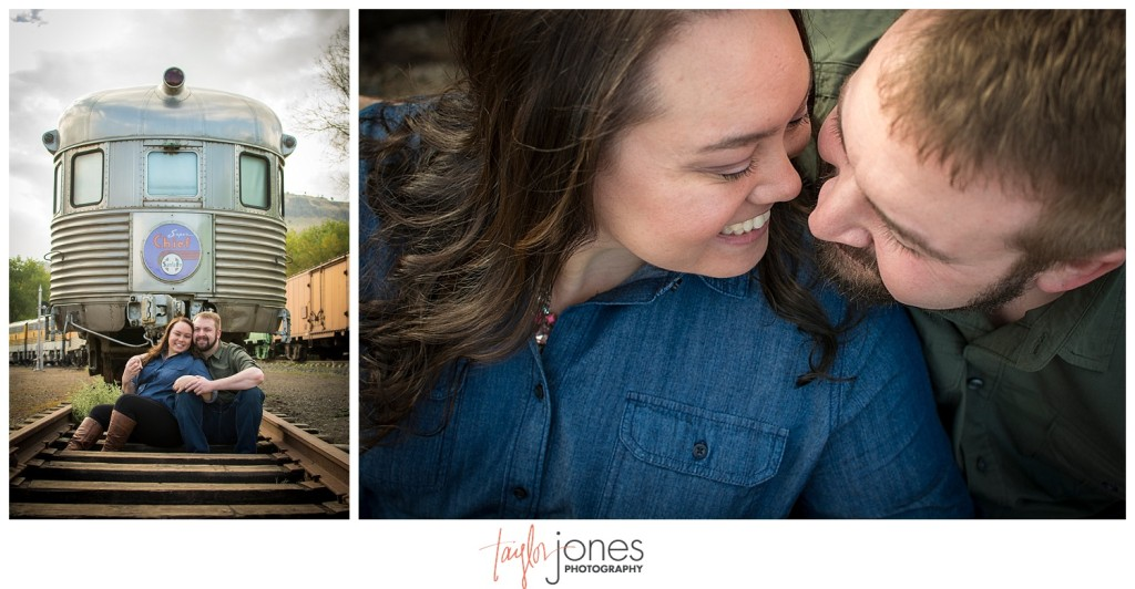 Colorado Railroad Museum engagement shoot in autumn Golden Colorado