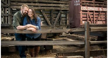 Colorado Railroad Museum engagement shoot in autumn Golden Colorado