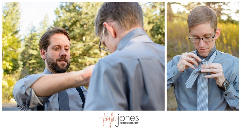 Pines at Genesee fall wedding photographer details and groom getting ready