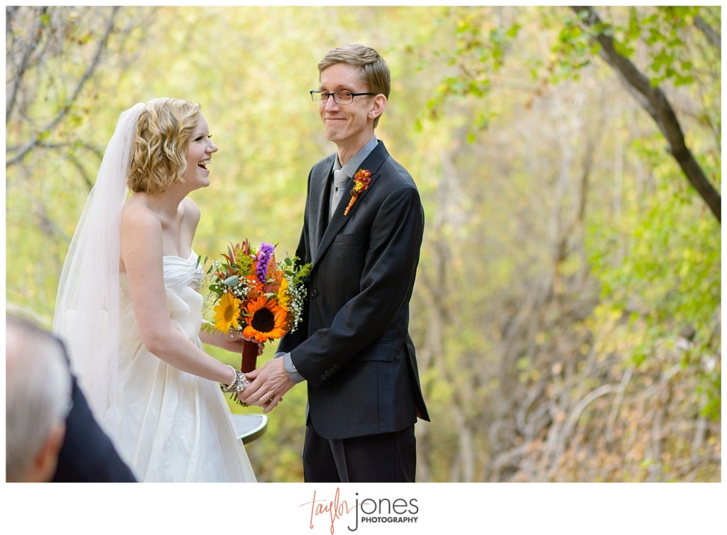 Pines at Genesee fall wedding photographer ceremony