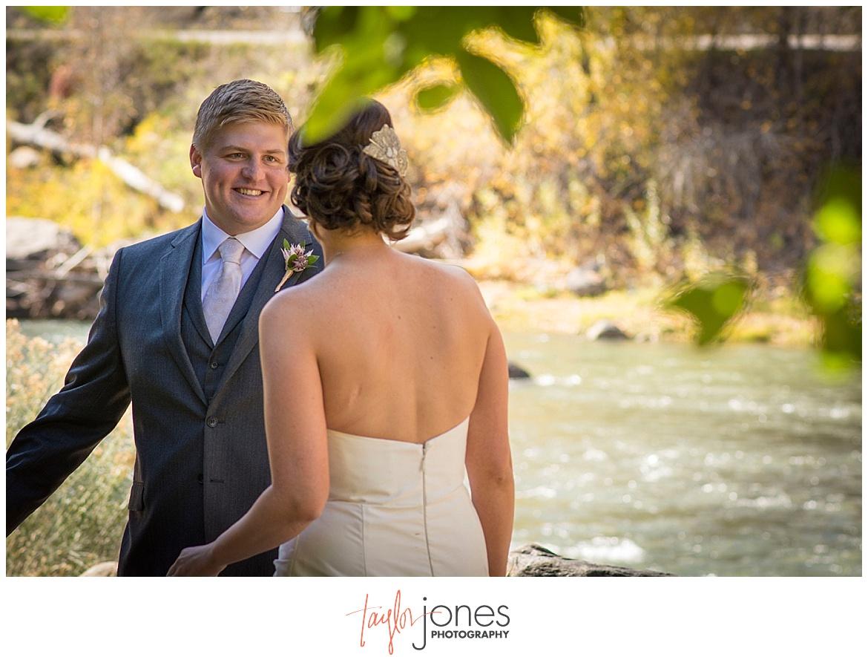 Durango Colorado fall wedding bride and groom first look
