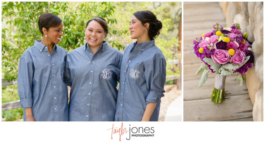Hudson Gardens wedding photographer bride and bridesmaids