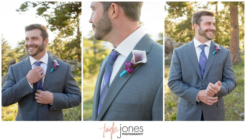 Groom at Genesee mountain wedding Colorado photographer