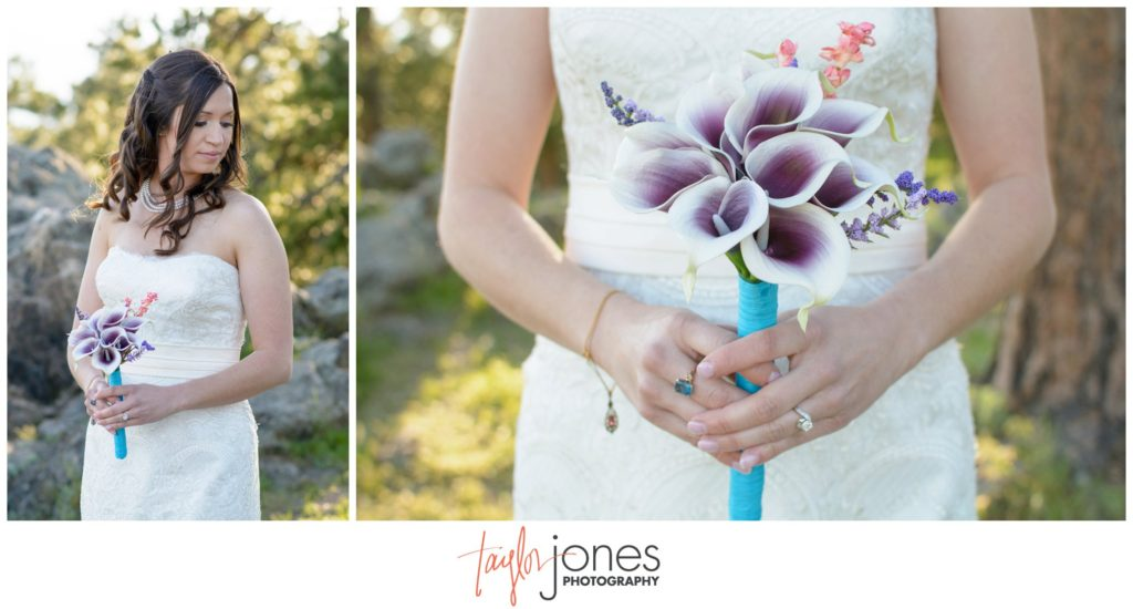 Colorado mountain wedding photographer bride at Genesee mountain