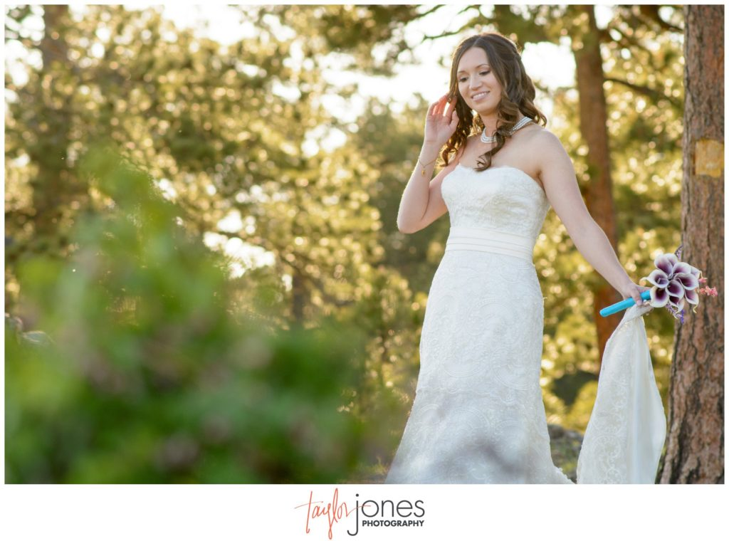 Bride at Genesee mountain wedding Colorado photographer